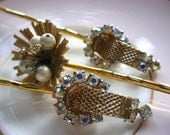 Gold tone bobby pins Rhinestone hair pins Pearl bobby pins made from vintage earrings