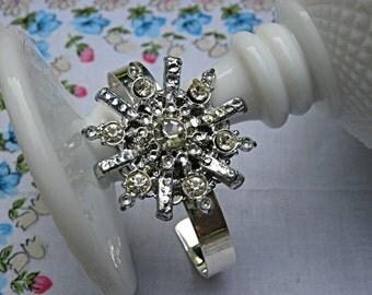 Vintage brooch rhinestone cuff bracelet