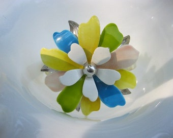 Yellow, pink, green, blue and white cuff bracelet made from vintage enamel brooch
