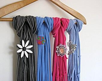Blue skinny scarf, Infinity scarf, jersey scarf, T shirt scarf, shabby chic, boho scarf, eco friendly accessory, Lily Whitepad