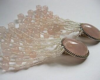 Soft pink plastic bead vintage clip on shoulder duster chandelier earrings, romantic, gypsy boho beach bride