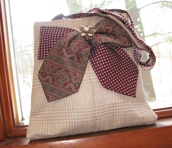 Straw-colored silk plaid tote bag made from men's suit coat and neck ties