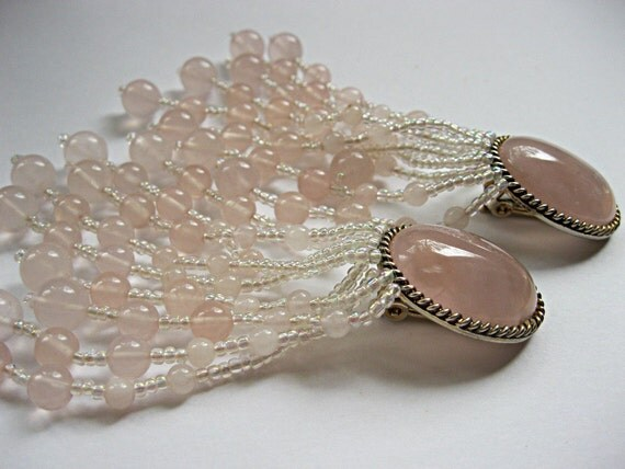 Soft pink plastic bead vintage clip on shoulder duster chandelier earrings, romantic, gypsy boho beach bride