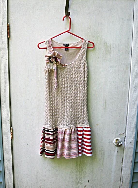 Boho Hippie Sundress, Beige and Red Sundress, Upcycled Dress, Recycled, Sleeveless Lace Dress, Women's Extra Small XS