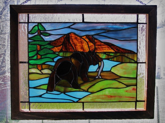 North American Brown Bear Stained Glass Panel