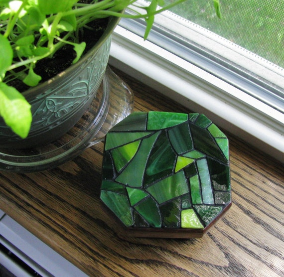 Stained Glass Mosaic Octagon Trinket Box