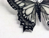 RESERVED Butterfly brooch -drawing on plastic