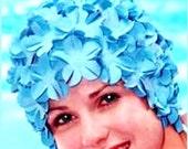 Flowered swim cap in aquamarine