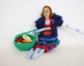 Interactive toy waldorf doll human figure and colorful doll  clothes,crochet flowers and basket .