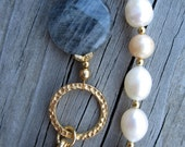 Fresh Water Pearl and Labradorite Asymmetrical Necklace