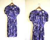 Rayon Dress 80s Does 40s Ethnic Tribal