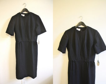 50s Dress / Black Wool Dress / Secretary Dress / 60s Dress