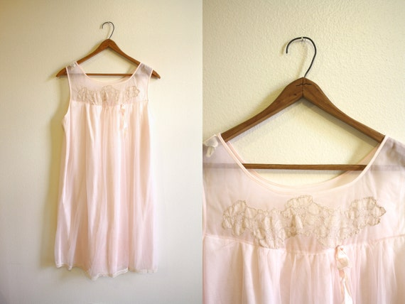 Sheer Pink 60s Night Dress