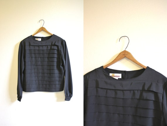 Black Silky Blouse Layer Pleated Front 80s Top