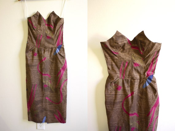 Strapless Dress Abstract Pointy Corset 70s Day Dress in Brown