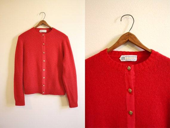 Red Shetland Wool Sweater / 60s Red Wool Cardigan