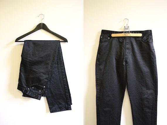 Waxed Pants / 90s Shiny Black Pants