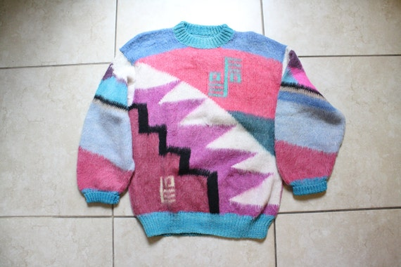 80s Multi Color Geometric Sweater / Oversized Sweater