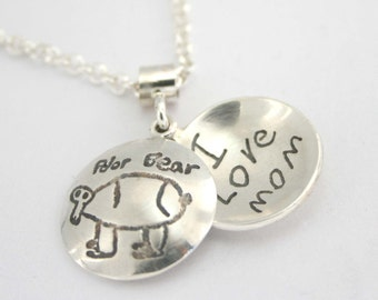 Personalized Simple 'Locket' with Handwriting or Your Child's Drawing