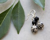 Dali Dangles - Black and White Spotted Dalmatian Jasper Earrings