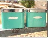 Vintage Metal Masterware Coffee and Tea Canisters Aqua Turquoise