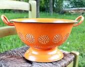 Vintage Orange Enamel Colander Strainer