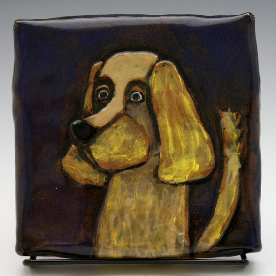"Golden Dog ""Stuck on the Wall"" Wall Tile with Midnight Blue Background"