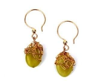 14K goldfill crochet earring with lime green Jade