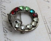 Vintage Sterling Silver and colored rhinestone brooch - signed Van Dell