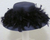 Vintage-40s Inspired-Audrey Hepburn-Black Ostrich Feather-Straw-Betmar New York Hat-Black Straw Hat