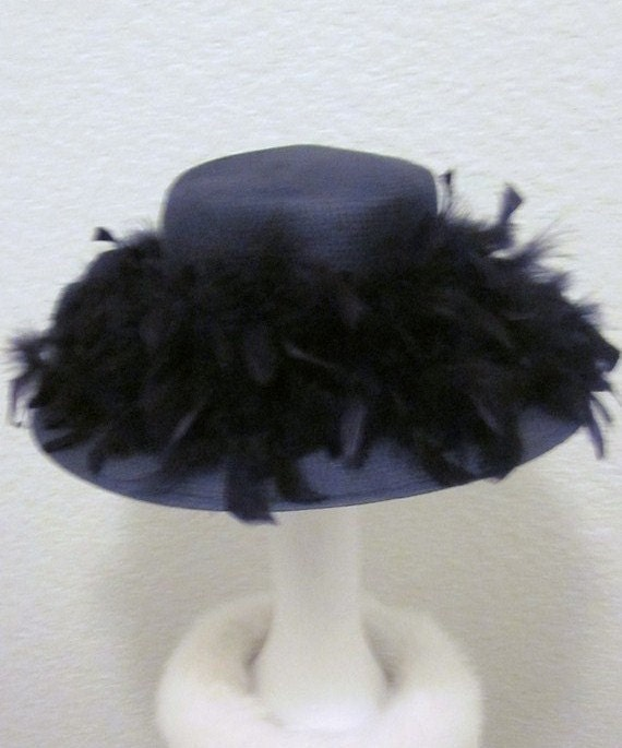 Vintage-40s Inspired-Audrey Hepburn-Black Ostrich Feather-Straw-Betmar New York Hat-Black Straw Hat
