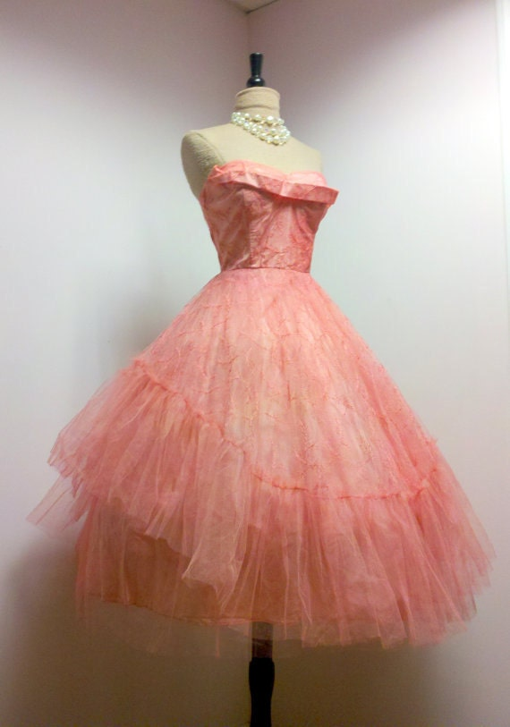 Vintage 50s Prom Dress Gown Ballerina Chic, S