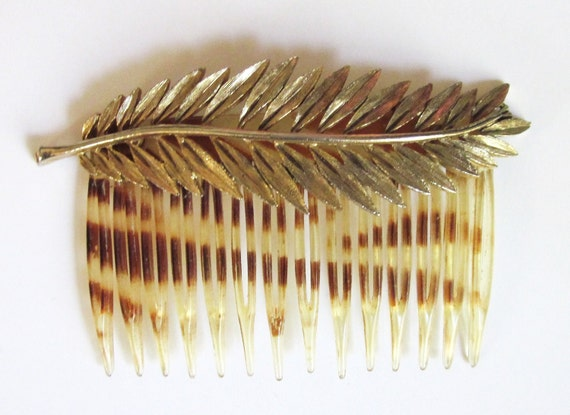 RESERVED-Vintage-50s-Hair Comb-Hair Decoration-Gold Leaf Comb