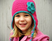 Bright Pink and Teal Crochet Earflap Hat - Choose Your Size