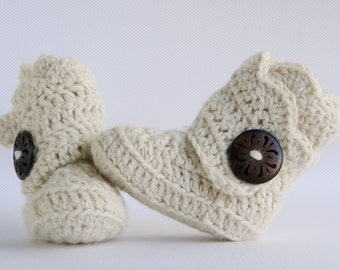 Cream Crochet Shell Wrap Boots- Choose Your Size