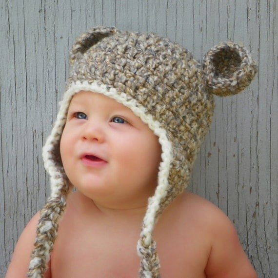Toasted Marshmallow Fluffy Crochet Bear Hat - Choose Your Size