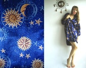 RESERVED for Kelly Olivo STAR GAZING Vintage Shiny Silky Robe with Stars, Suns and Zodiac Symbols S or M