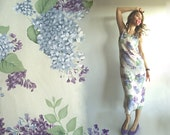 BREATH of LILACs Gorgeous Maxi Sleeveless Dress in Pale Yellow with Incredible Lilac Print In Different shades of Purple S/M