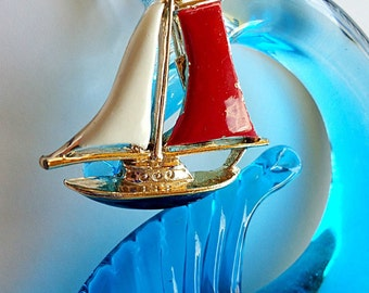 My SHIP SURVIVED the STORM Vintage Gerry Ship Boat Sail Brooch in Gold Blue White and Red