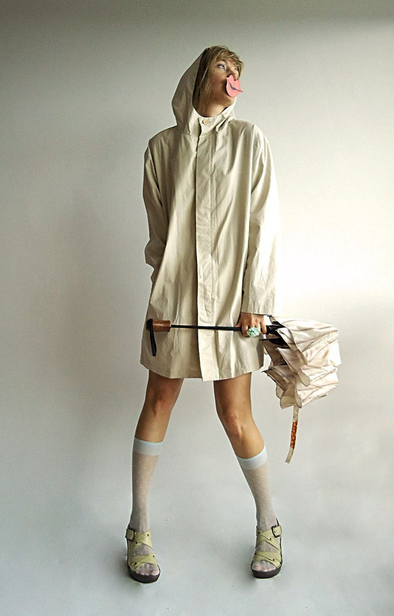 DRiP DRiP DROP and DO NoT STOP Vintage Unisex Raincoat Topper with Hood and Pockets in Deep Nude S/M/L