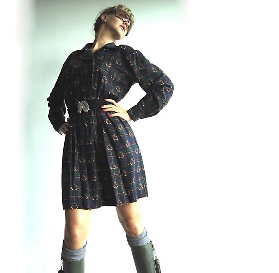 I WiLL HUNT YoU DOWN Vintage New Old Stock Dress in Forest Green with Hunters Horns and Plaid Print in Navy, Red, Yellow and Black M/L