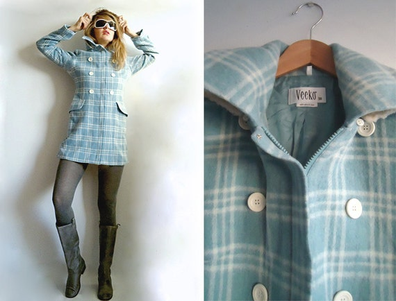BLuE SkY FLUFFY CLOUDS 70s Wool Lightweight MOD Coat In Adorable Baby Blue and White Checkers with Removable Hood S or M