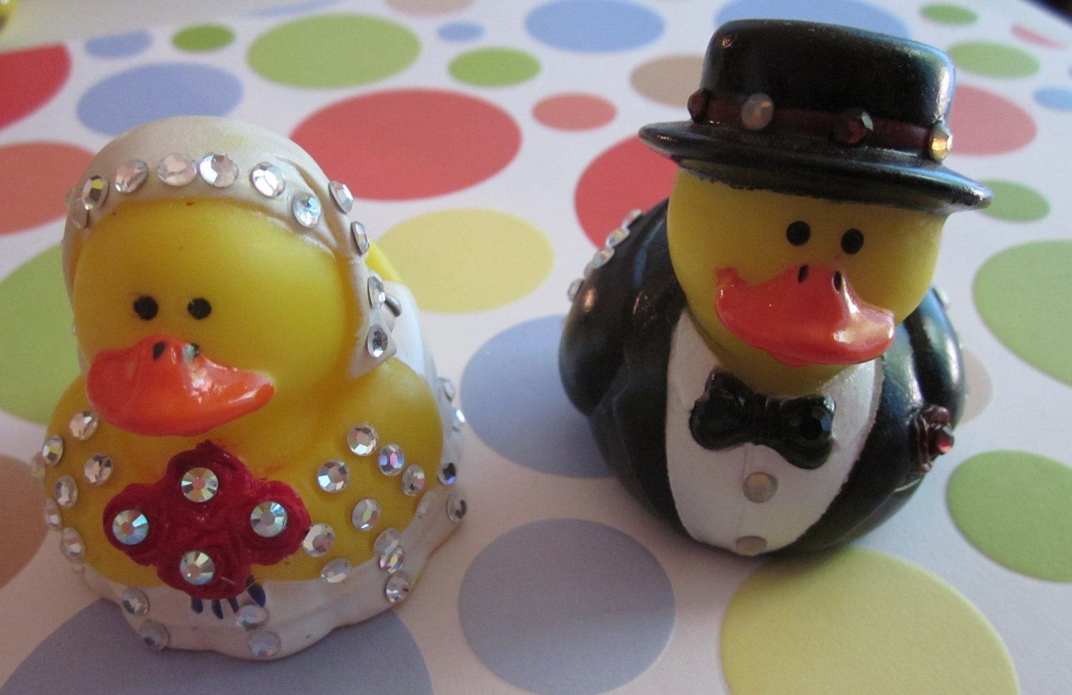 rubber duck wedding cake toppers and groom rubber ducks cake or gift topper swarovski 19439