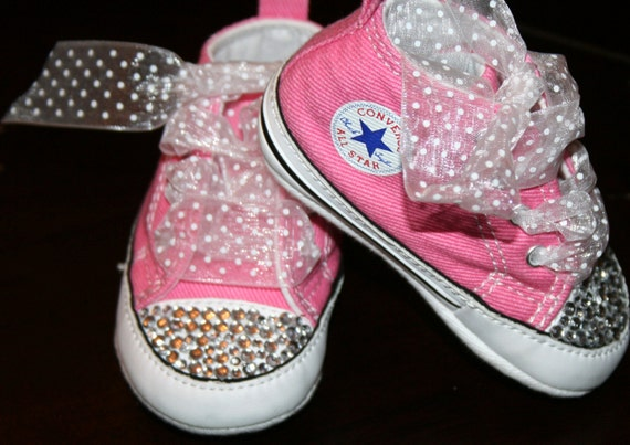 Pink Baby CHUCKS Converse rhinestones crystals BLING Party