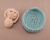 Baby Easter Bunny with Cradle. PATTERN. Spring Small Crocheted Rabbit. Bright Eggs. Perfect for Easter Baskets PDF. child, kids.