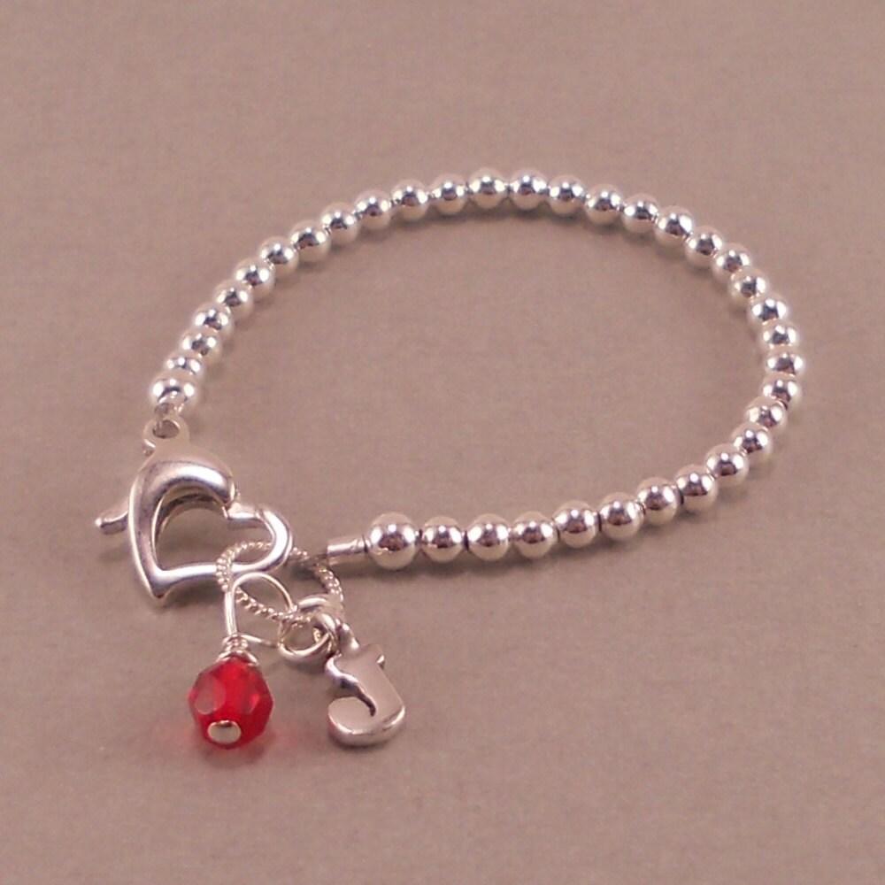 Baby Charm Bracelets: Baby Bracelet Sterling Silver Beads Heart By