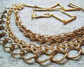 three vintage gold chains chunky loud necklace