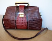 Gorgeous Vintage large CROC and LEATHER ATTACHE HANBAG