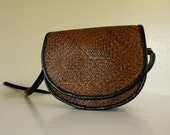 Vintage BLACK LEATHER  EQUESTRIAN Small Crossbody purse satchel with strap