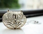 Vintage Little Silver Antique HANDBAG NECKLACE